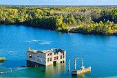 Flooded houses of former prison. Rummu, Estonia, EU