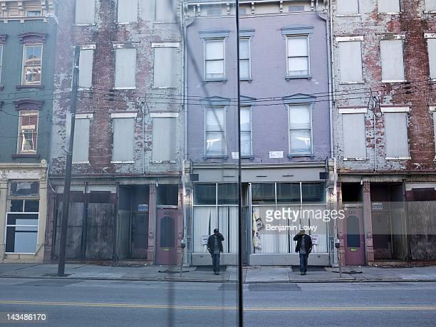 Abandoned properties await renovation in Cincinnati's OvertheRhine neighborhood on February 5 2012 in Cincinnati Ohio