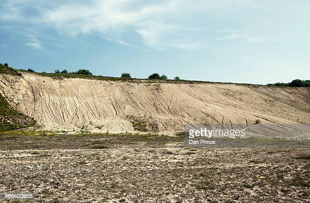 Abandoned quarry with eroded hillside waste
