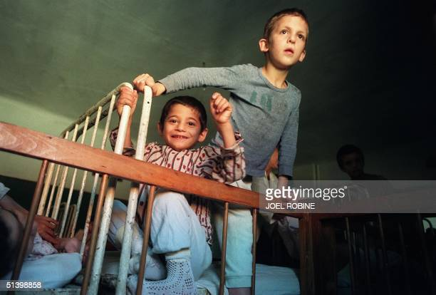 Abandoned Romanian children get ready for bed at the Buchea orphanage in Buchea near Vulturesti 150kms from Bucharest 08 October 1990 There are some...
