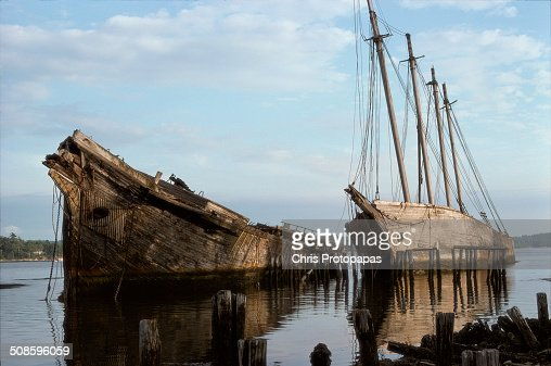 Abandoned sailing ships at Wiscasset Maine 1975 : Foto de stock