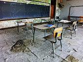 Abandoned school classroom in Gary, Indiana - landscape photo
