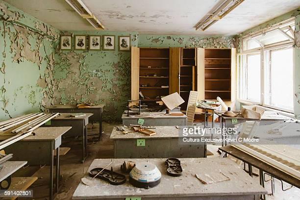 Abandoned school classroom in the Chernobyl Exclusion Zone, Pripyat, Ukraine