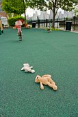 Abandoned stuffed animals in playground