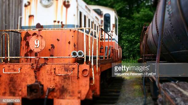 Abandoned Train Engines In A Yard