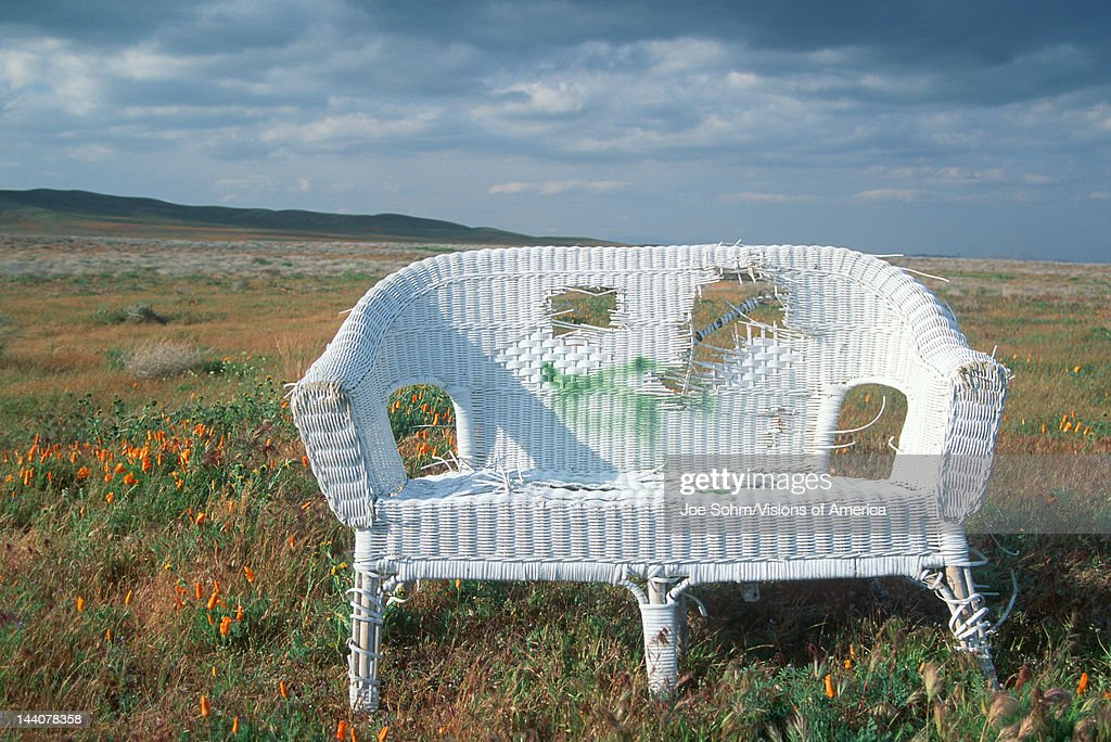 Abandoned wicker sofa in a field of poppies in Antelope Valley, California