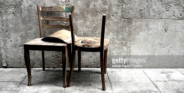 Abandoned wooden chairs