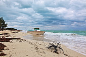 Abandoned Wrecked Beached Boat in Isla Blanca Cancun Mexico