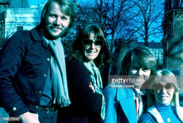 Abba group shot Stockholm April 1976 Bjorn Ulvaeus AnniFrid Lyngstad Benny Andersson Agnetha Faltskog