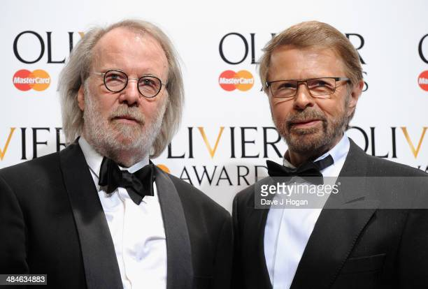 Abba members Benny Andersson and Bjorn Ulvaeus during the Laurence Olivier Awards at the Royal Opera House on April 13 2014 in London England