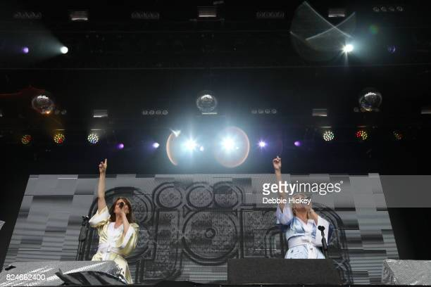 Abba tribute band Bjorn Again performs on stage during Punchestown Music Festival at Punchestown Racecourse on July 30 2017 in Naas Ireland