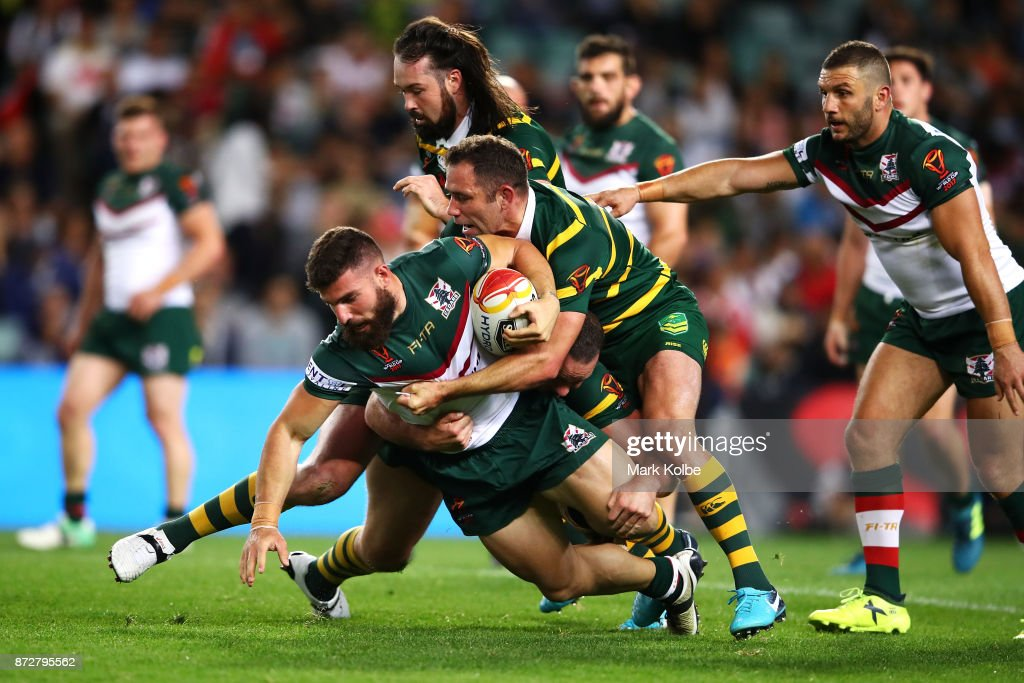Abbas Miski of Lebanon is tackled during the 2017 Rugby League World Cup match between Australia and Lebanon at Allianz Stadium on November 11, 2017 in Sydney, Australia.