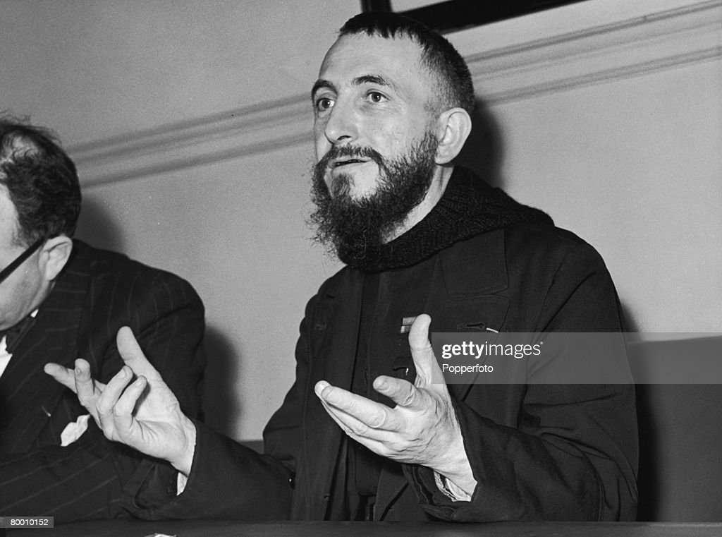 Abbe Pierre a French Catholic priest known for his charity works gives a press conference at Caxton Hall during a visit to London 30th March 1954 He...