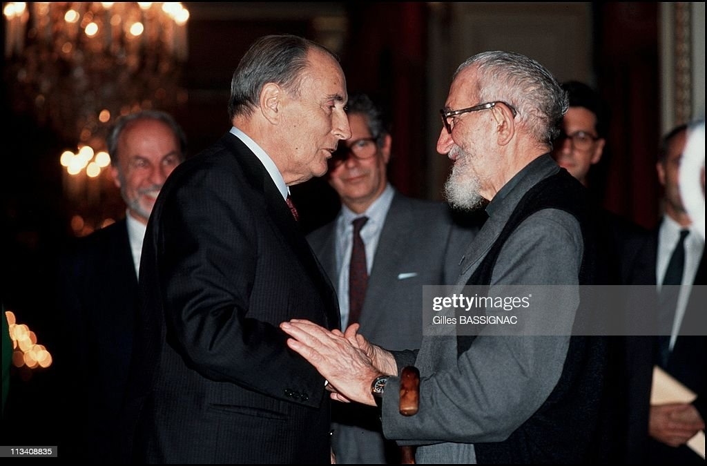 Abbe Pierre Received By Francois Mitterrand At The Elysee On October 25th 1989 In Paris France