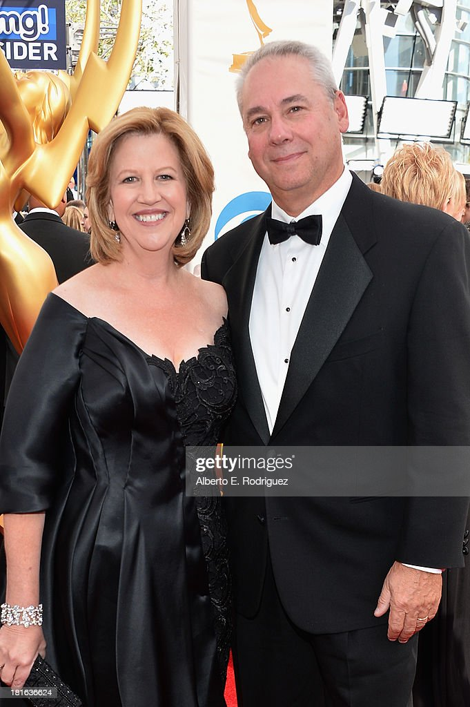 Abbe Raven is Chairman of AE Networks and husband Martin Tackel arrive at the 65th Annual Primetime Emmy Awards held at Nokia Theatre LA Live on...