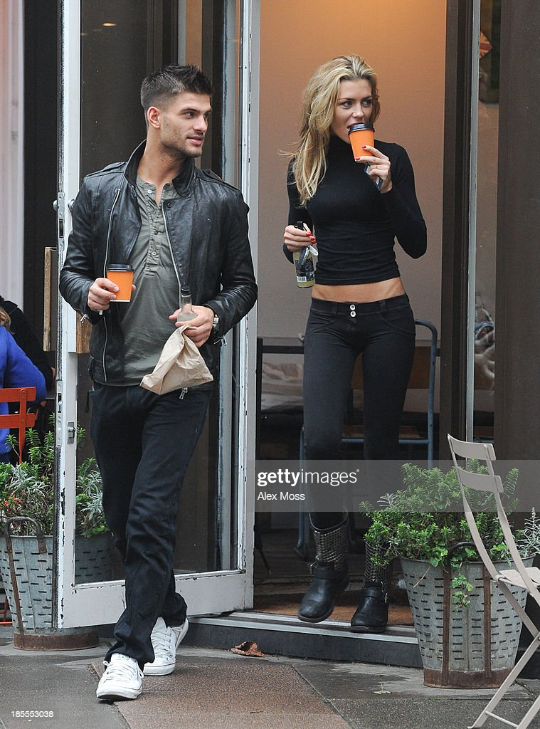 Abbey Clancy and Aljaz Skorjanec seen having coffee in North London on October 22, 2013 in London, England.