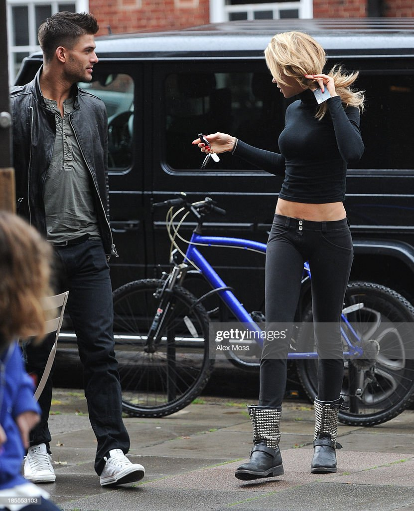 Abbey Clancy and Aljaz Skorjanec sighted getting a coffee in North London on October 22, 2013 in London, England.