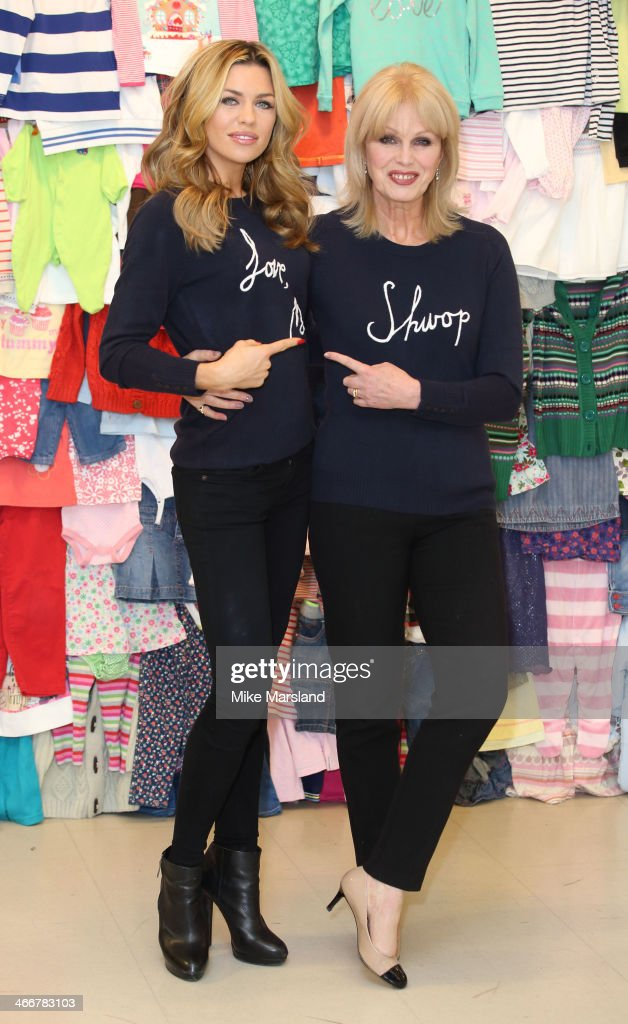 Abbey Clancy and <a gi-track='captionPersonalityLinkClicked' href=/galleries/search?phrase=Joanna+Lumley&family=editorial&specificpeople=206307 ng-click='$event.stopPropagation()'>Joanna Lumley</a> attend a photocall to launch the M&S 'Love, Mum' shwopping campaign in conjunction with Oxfam at Marks & Spencer Marble Arch on February 4, 2014 in London, England.