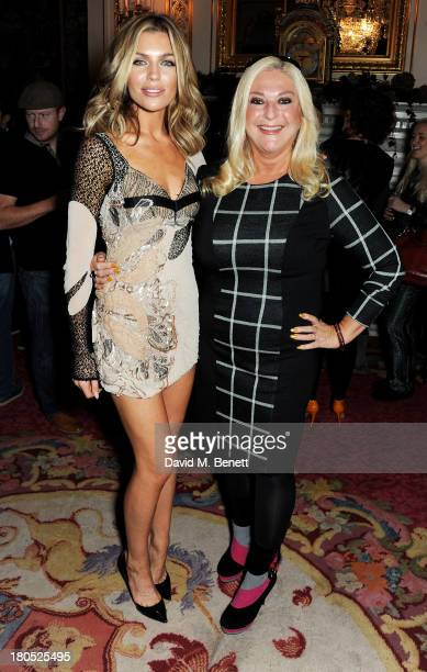 Abbey Clancy and Vanessa Feltz attend the front row for the Julien Macdonald runway show during London Fashion Week SS14 at Goldsmith's Hall on...