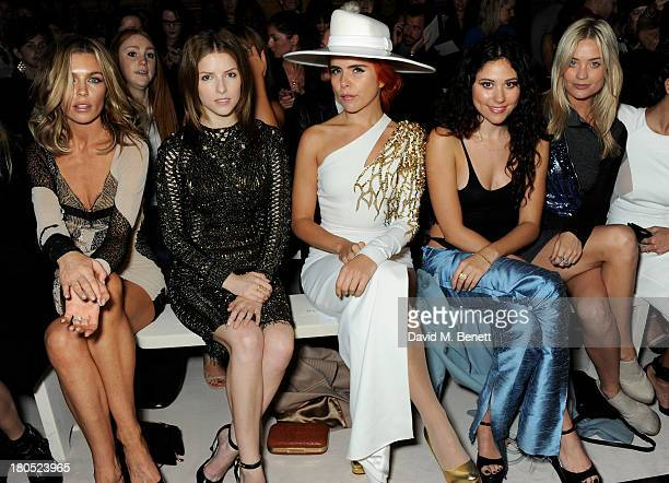 Abbey Clancy Anna Kendrick Paloma Faith Eliza Doolittle and Laura Whitmore attend the front row for the Julien Macdonald runway show during London...
