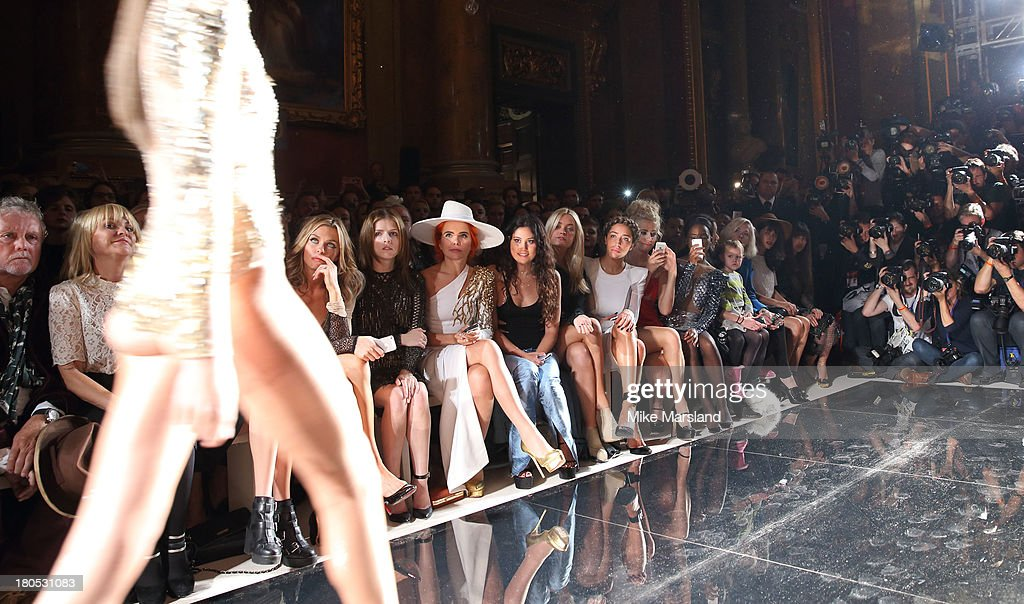 Abbey Clancy, <a gi-track='captionPersonalityLinkClicked' href=/galleries/search?phrase=Anna+Kendrick&family=editorial&specificpeople=3244893 ng-click='$event.stopPropagation()'>Anna Kendrick</a>, <a gi-track='captionPersonalityLinkClicked' href=/galleries/search?phrase=Paloma+Faith&family=editorial&specificpeople=4214118 ng-click='$event.stopPropagation()'>Paloma Faith</a>, Eliza Doolittle, <a gi-track='captionPersonalityLinkClicked' href=/galleries/search?phrase=Laura+Whitmore&family=editorial&specificpeople=5599316 ng-click='$event.stopPropagation()'>Laura Whitmore</a>, Delilah and <a gi-track='captionPersonalityLinkClicked' href=/galleries/search?phrase=Pixie+Lott&family=editorial&specificpeople=5591168 ng-click='$event.stopPropagation()'>Pixie Lott</a> attend the Julien Macdonald show at London Fashion Week SS14 on September 14, 2013 in London, England.