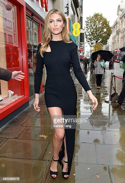 Abbey Clancy attends a photocall to launch a new occasion wear collection for Matalan at Oxford Street on November 4 2015 in London England
