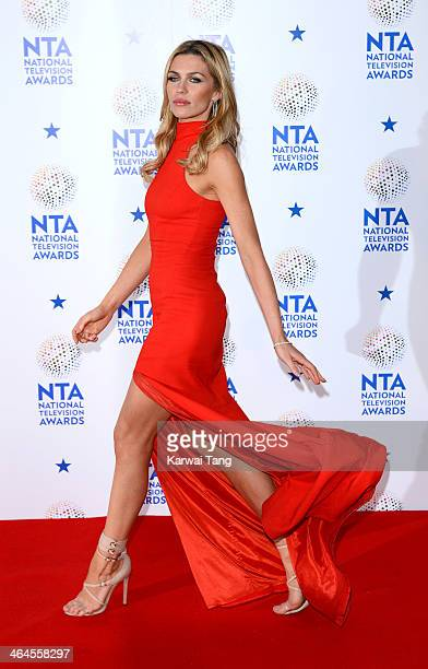 Abbey Clancy poses in the winners room at the National Television Awards at the 02 Arena on January 22 2014 in London England