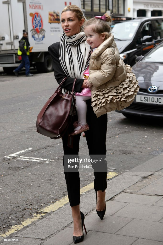 Abbey Clancy sighted in Maytfair on February 22, 2013 in London, England.
