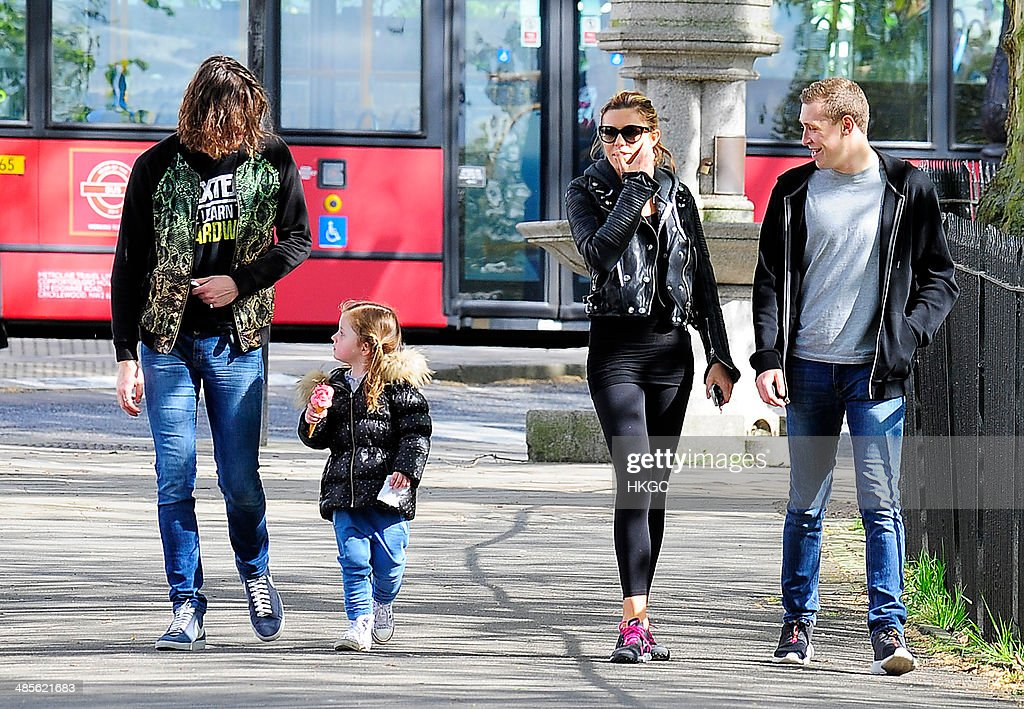 Abbey Clancy takes her Daughter Sophia to Primrose Hill Park before treating her to an ice cream. on April 19, 2014 in London, England.