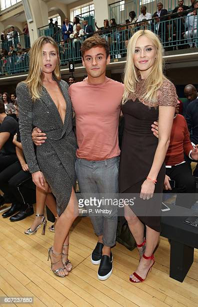 Abbey Clancy Tom Daley and Fearne Cotton attend the Julien Macdonald show during London Fashion Week Spring/Summer collections 2017 at Seymore...