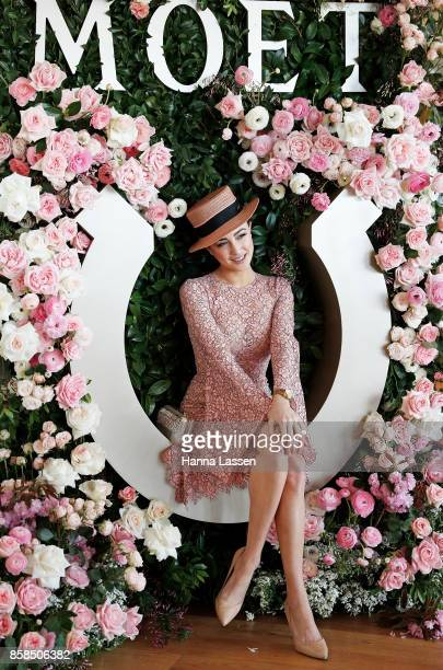 Abbey Gelmi wearing Yeojin Bae dress Nerida Winter boater Momco clutch and Tony Bianco shoes at Moet Chandon Spring Champion Stakes Day at Royal...