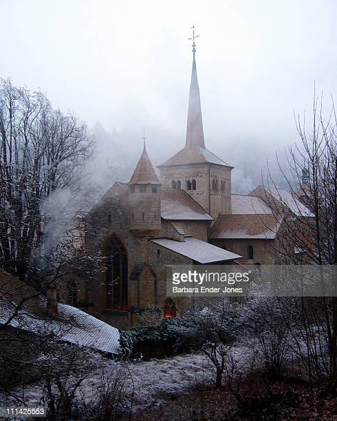 Abbey in snow