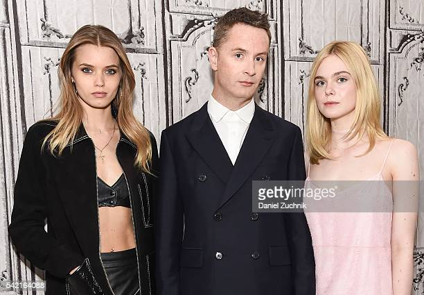 Abbey Lee Nicolas Winding Refn and Elle Fanning attend AOL Build to discuss the film 'The Neon Demon' at AOL Studios on June 22 2016 in New York City