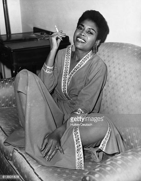 Abbey Lincoln the American singer at her hotel room in London during her visit The famous American singer Abbey Lincoln arrived in London this mornng...