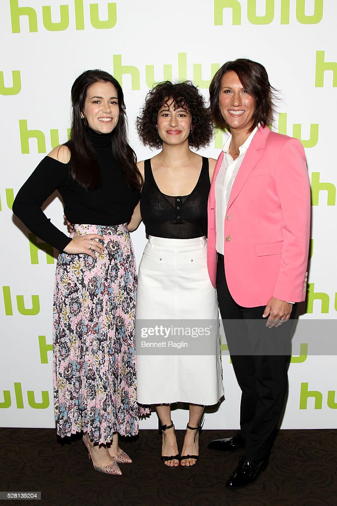 <a gi-track='captionPersonalityLinkClicked' href=/galleries/search?phrase=Abbi+Jacobson&family=editorial&specificpeople=12333694 ng-click='$event.stopPropagation()'>Abbi Jacobson</a> (L) and <a gi-track='captionPersonalityLinkClicked' href=/galleries/search?phrase=Ilana+Glazer&family=editorial&specificpeople=10861068 ng-click='$event.stopPropagation()'>Ilana Glazer</a> (R) of Broad City pose with Hulu SVP Head of Marketing Jenny Wall at the 2016 Hulu Upftont on May 04, 2016 in New York, New York.