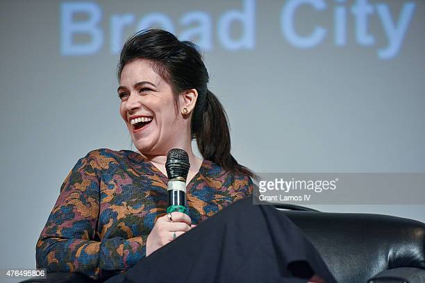 Abbi Jacobson speaks at the SAG Foundation Presents A Conversation With Ilana Glazer and Abbi Jacobson Of 'Broad City' at NYIT Auditorium on June 9...