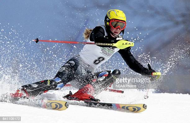 Abbi Lathrop of Colby College races to a fifth place finish in the women's slalom during the Division 1 Women's Skiing Championship held at the...