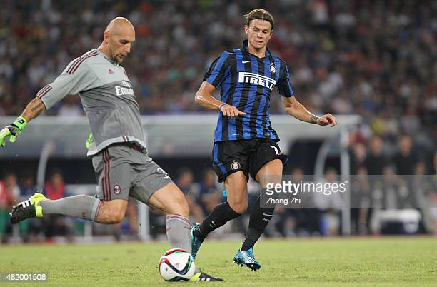Abbiati Christian of AC Milan cleans out the ball against Longo Samuele of FC Internazionale during the match of International Champions Cup China...