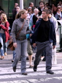 Abbie Cornish and Ryan Phillippe during Ryan Phillippe and Abbie Cornish On Set of Untitled Film October 12 2006 at Times Square in New York City New...