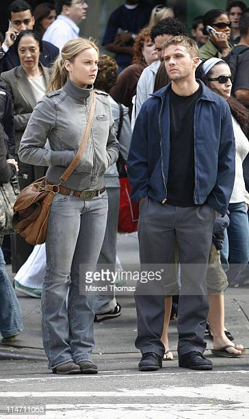 Abbie Cornish and Ryan Phillippe during Ryan Phillippe and Abbie Cornish on Film Set of an Untitled Movie in Times Square New York City October 12...