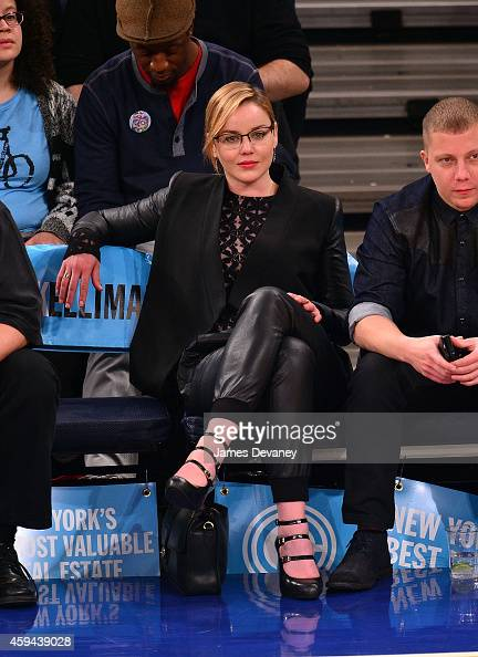 Abbie Cornish attends the Philadelphia 76ers vs New York Knicks game at Madison Square Garden on November 22 2014 in New York City
