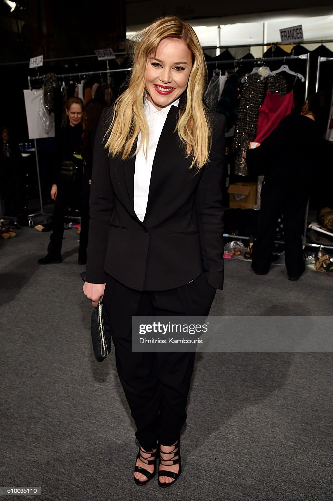 <a gi-track='captionPersonalityLinkClicked' href=/galleries/search?phrase=Abbie+Cornish&family=editorial&specificpeople=213603 ng-click='$event.stopPropagation()'>Abbie Cornish</a> poses backstage at the Monique Lhuillier Fall 2016 fashion show during New York Fashion Week: The Shows at The Arc, Skylight at Moynihan Station on February 13, 2016 in New York City.