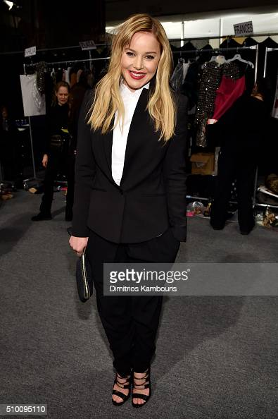 Abbie Cornish poses backstage at the Monique Lhuillier Fall 2016 fashion show during New York Fashion Week The Shows at The Arc Skylight at Moynihan...