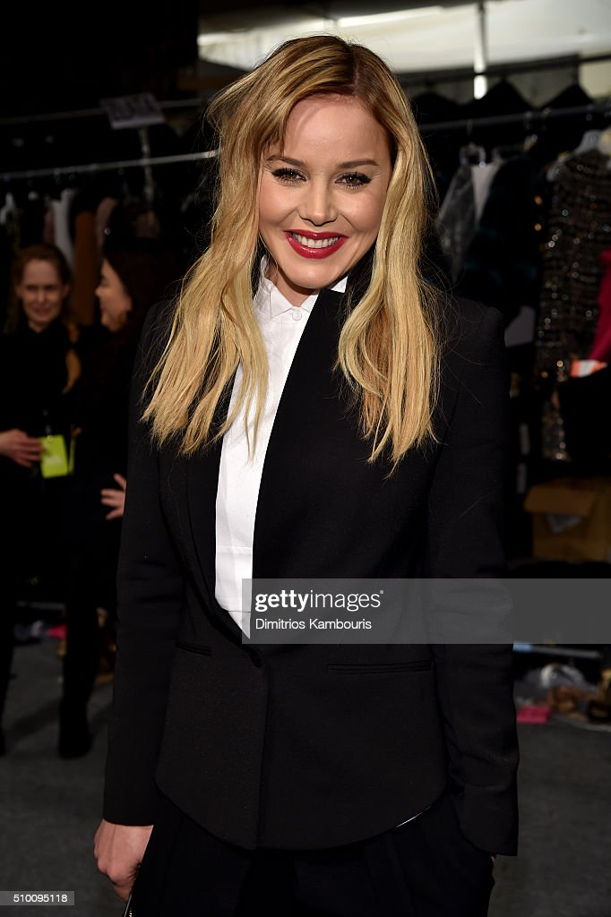 Abbie Cornish poses backstage at the Monique Lhuillier Fall 2016 fashion show during New York Fashion Week: The Shows at The Arc, Skylight at Moynihan Station on February 13, 2016 in New York City.