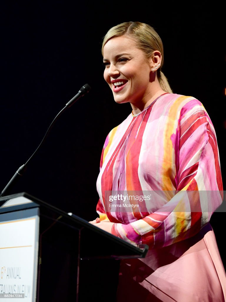 Abbie Cornish speaks onstage at the 6th Annual Australians in Film Award & Benefit Dinner at NeueHouse Hollywood on October 18, 2017 in Los Angeles, California.