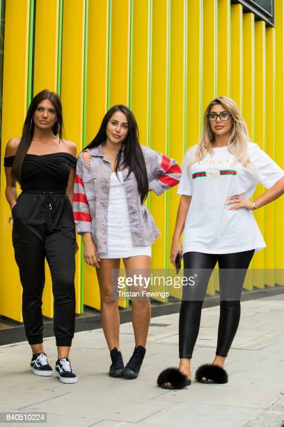 Abbie Holborn Marnie Simpson and Chloe Ferry attend the Geordie Shore series 15 premiere photocall at MTV London on August 29 2017 in London England