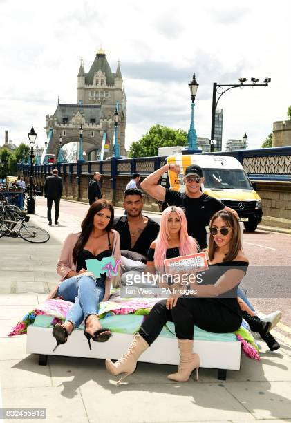 Abbie Holborn Nathan Henry Chloe Ferry Scott Timlin and Sophie Kasaei from the cast of Geordie Shore attending the photocall to launch series 15 of...