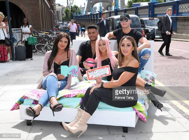 Abbie Holborn Sophie Kasaei Nathan Henry Scotty T and Chloe Ferry attends the Geordie Shore series 15 'Shag Pad on Tour ' cast launch at Tower Bridge...