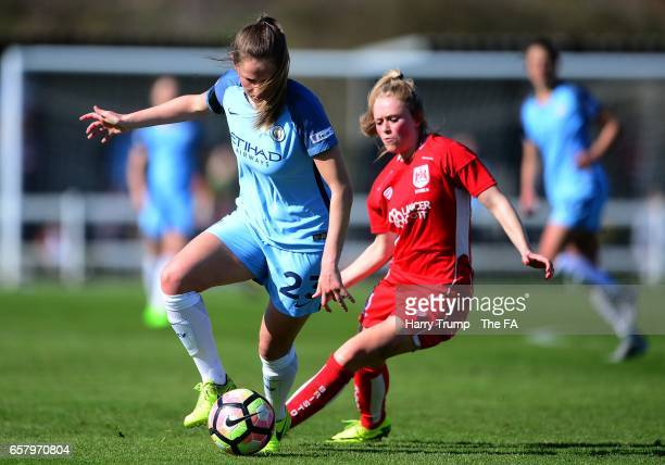Abbie McManus of Manchester City Women looks to break past Millie Farrow of Bristol City Women during the SSE FA Women's Cup Sixth Round match...