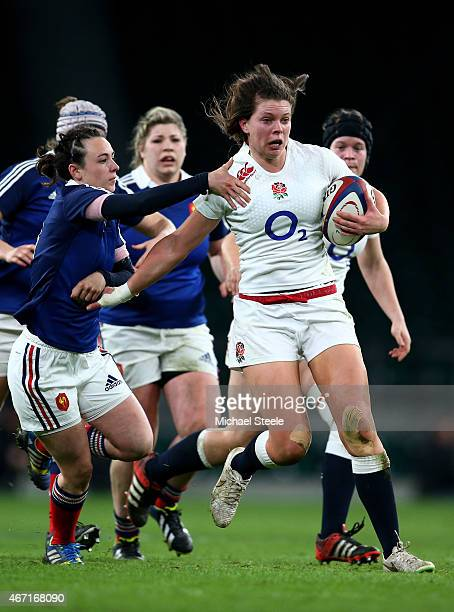 Abbie Scott of England charges upfield during the Women's Six Nations match between England and France at Twickenham Stadium on March 21 2015 in...